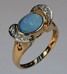 Boulder Opal Ring with Diamonds