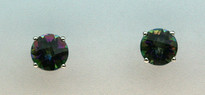 Mystic Topaz Gold Stud Earrings