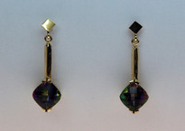 3.5ct Mystic Topaz Gold Earrings