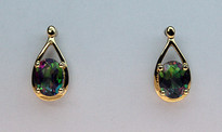 3ct Mystic Topaz Gold Earrings