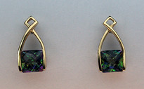 Mystic Topaz Gold Earrings - 2.6ct