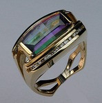 14kt Gold Mystic Topaz Ring with Diamonds