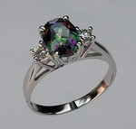 14kt Gold Mystic Topaz Ring with Diamonds R508