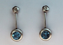 14kt Gold Blue Topaz Earrings with Diamonds