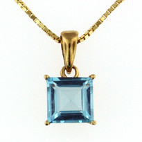 14kt Gold Blue Topaz Pendant 018ML