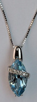 14kt Gold Blue Topaz Pendant with Diamonds 079ML