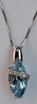 14kt Gold Blue Topaz Pendant with Diamonds 079ML