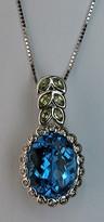 Blue Topaz Pendant Leaf Pendant for women