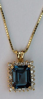 14kt Gold Blue Topaz Pendant with Diamonds P164