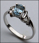 14kt Gold Blue Topaz and Diamond Ring R256