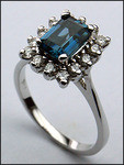 14kt Gold Blue Topaz and Diamond Ring R328