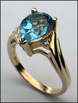 14kt Gold Blue Topaz and Diamond Ring R671