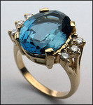 14kt Gold Blue Topaz and Diamond Ring R411 287