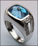 14kt Gold Blue Topaz and Diamond Ring 02YML