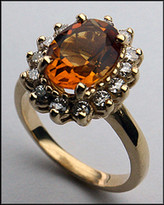 14kt Gold Citrine and Diamond Ring R370