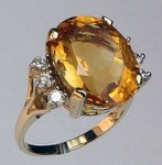 14kt Gold Citrine and Diamond Ring R411