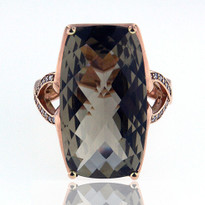 14kt Rose Gold Smokey Topaz Ring With Dia