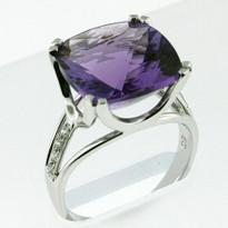 7.6ct  Cushion-cut Amethyst White Gold Ring