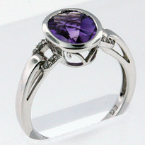 1.7ct Amethyst White Gold Diamond Ring