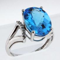 14kt White Gold Blue Topaz Ring  EGR9211-2