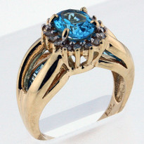 14kt Gold Blue Topaz and Diamond Ring 1YSR