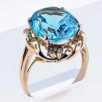 14kt Gold Blue Topaz and Diamond Ring 1Y61ML