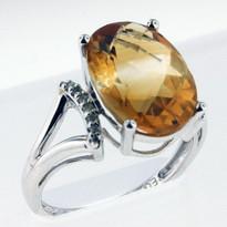 14kt  Gold Citrine and Diamond Ring EGR9211-3
