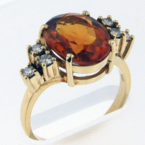 18kt Gold Citrine and Diamond Ring 02Y51ML-1