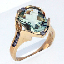 3.6ct Green Amethyst Yellow Gold Ring