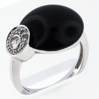 6.3ct Black Onyx Ring Set In White Gold