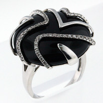 20.3ct Onyx Ring White Gold