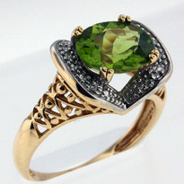 1.78ct Peridot and Diamond Ring