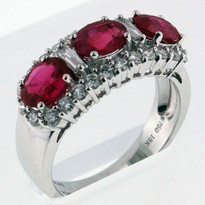 2.06ct (3-Rubies) Ruby Ring White Gold