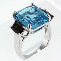 Blue Topaz and Tourmaline Ring set in 14 Kt. White Gold Stone weight: 14.1 ct. B.T. and 2.0ct. Tourmaline