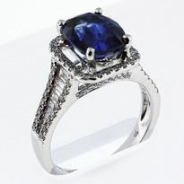 3.21ct Sapphire Ring w/ Diamonds (F Color, VS2)