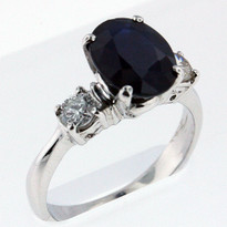 3.02ct Sapphire Ring with .38ct Diamonds in White Gold