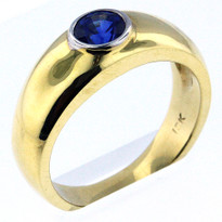 1.12ct Sapphire Men's Yellow Gold Ring