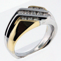 14kt Two Tone Men's Diamond Ring-04Y21M