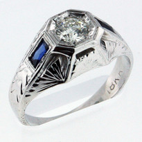 Diamond .43ct Men's White Gold Ring