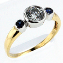 14kt Two Tone Engagement Ring with .92ct Center Diamond