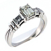 14kt White Gold  Engagement Ring with .71ct Center Diamond