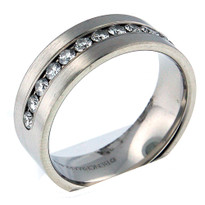 14kt White Gold, .72ct Diamond Wedding Band-Men's