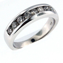 14kt White Gold, .65ct Diamond Wedding Band-Men's