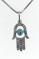 14kt White Gold Jewish Diamond Hamsa Turquise