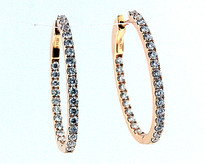 18kt Rose Gold Diamond Hoop Earrings