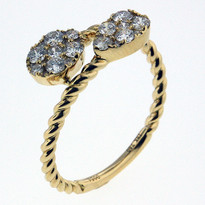 Diamond .54ct Tear Drop Cluster Ring in Yellow Gold