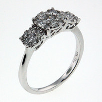 Diamond .67ct Three Cluster Ring in White Gold
