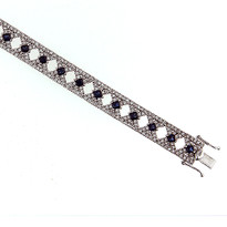 14kt White Gold Sapphire Bracelet with 2.26ct Diamond