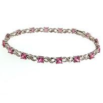 14kt White Gold Pink Sapphire Bracelet