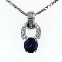 Sapphire .96ct  Pendant in 18kt White Gold
